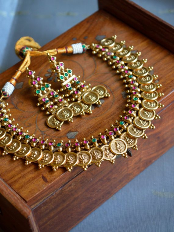 Ruby Green Lakshmi Coin Necklace Set Antic Polish – 01