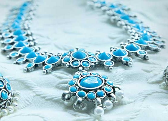Traditional Germa Sky Blue Silver Necklace Set