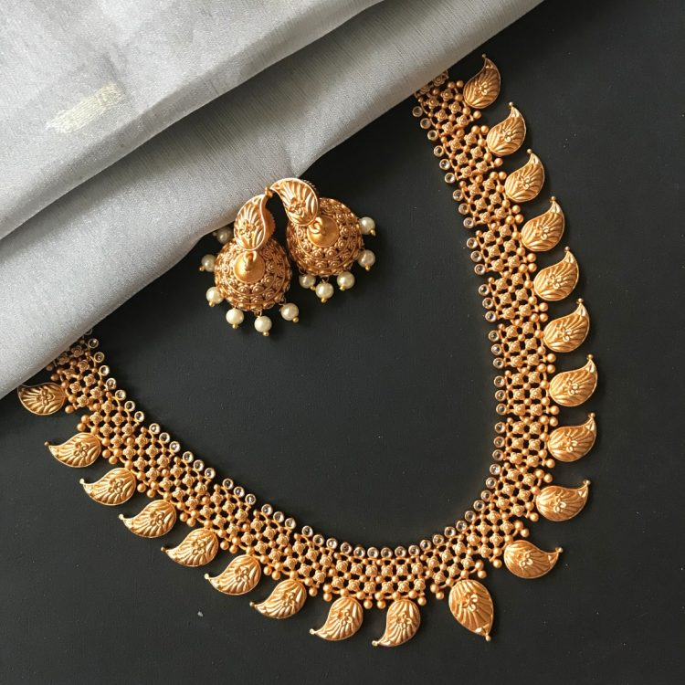 Traditional Mango Necklace With Jhumkas - 01