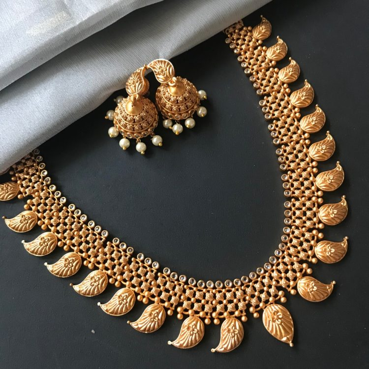 Traditional Mango Necklace With Jhumkas - 02