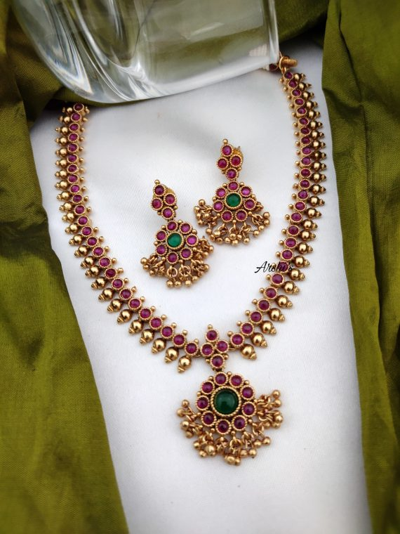 Antique Gold Pearl Red Kemp Necklace-02