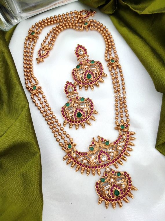 Antique Long Necklace With Ruby & Green Stones-01