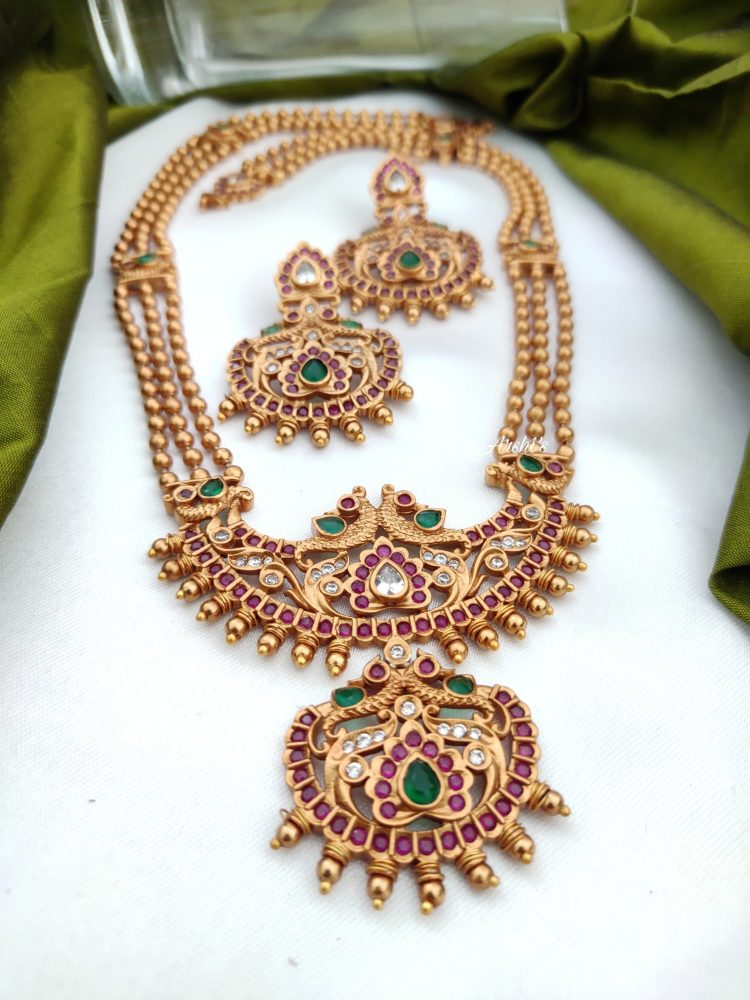 Antique Long Necklace With Ruby & Green Stones-02