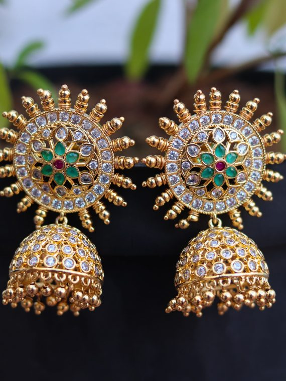 Big Bridal Green & White Stone Jhumkas-01