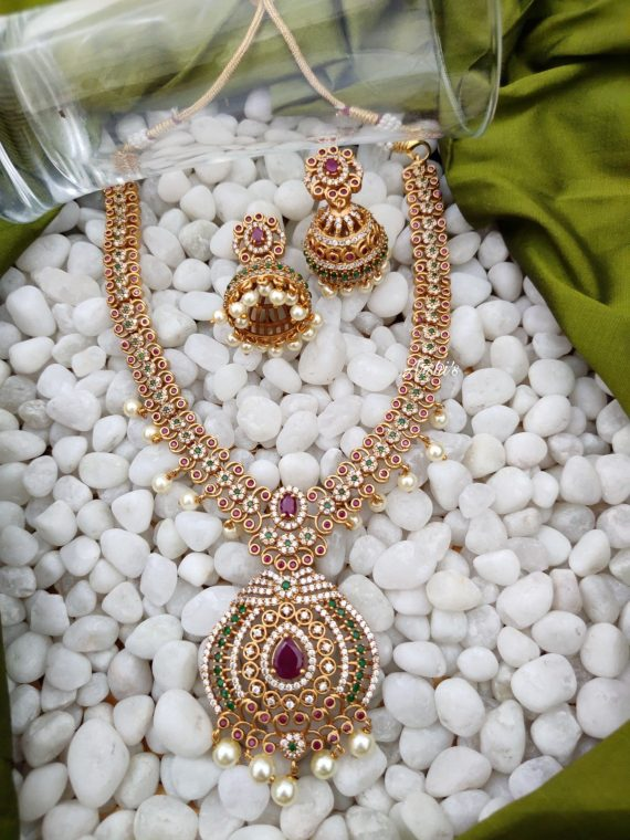 Bridal AD Stone Necklace With Jhumkas-01