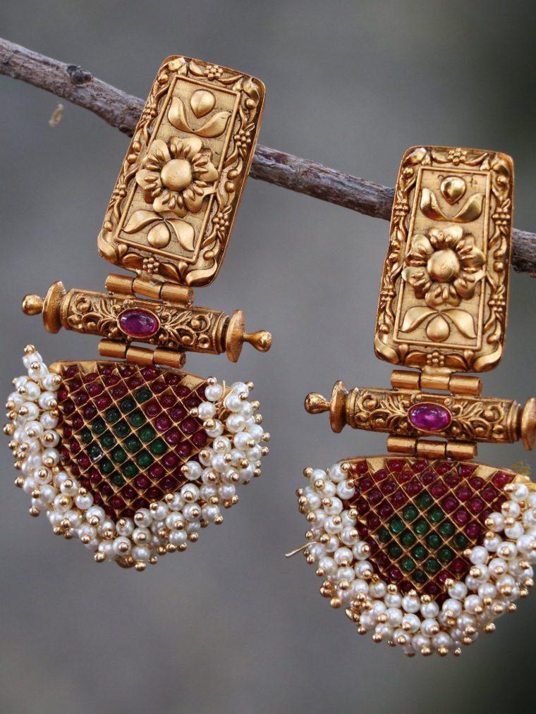 Designer Pearl Cluster Earrings-01