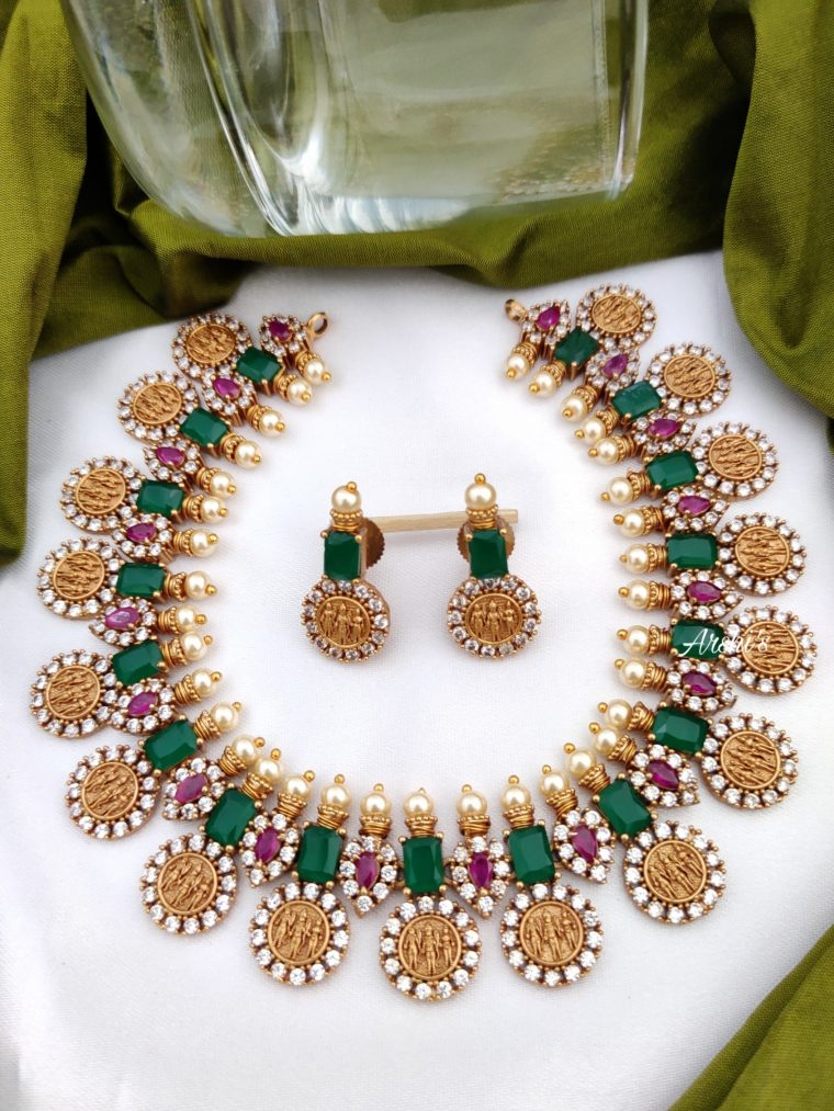 Emerald Green & Red RamParivar Necklace-01