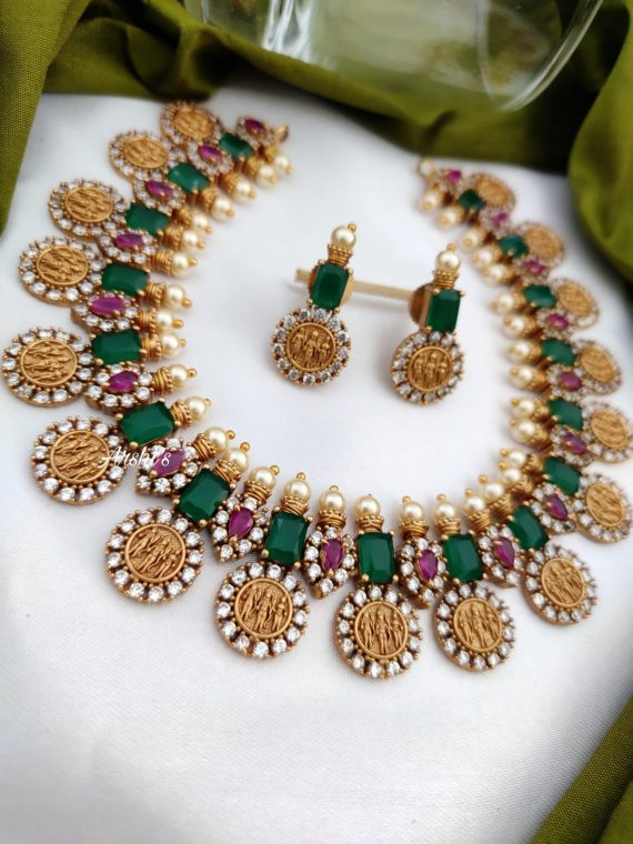 Emerald Green & Red RamParivar Necklace-02