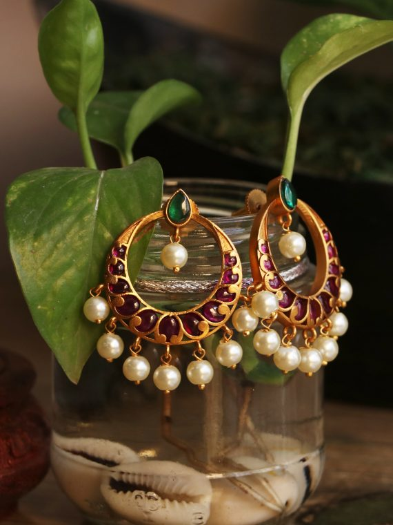 Imitation Real Kemp Stone Chandbali Earrings-01