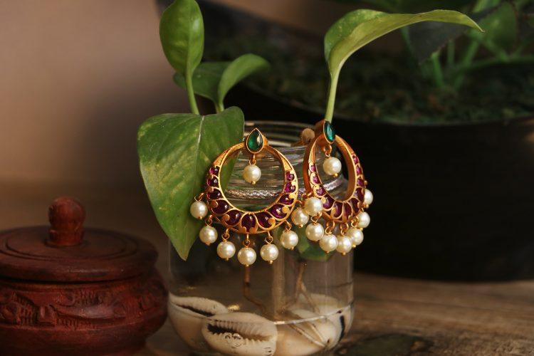 Imitation Real Kemp Stone Chandbali Earrings-01