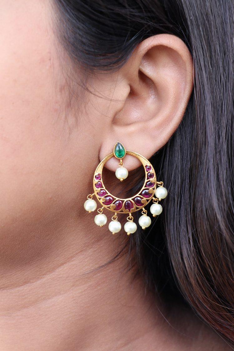 Imitation Real Kemp Stone Chandbali Earrings-2