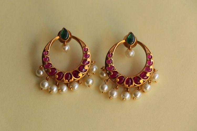 Imitation Real Kemp Stone Chandbali Earrings-3