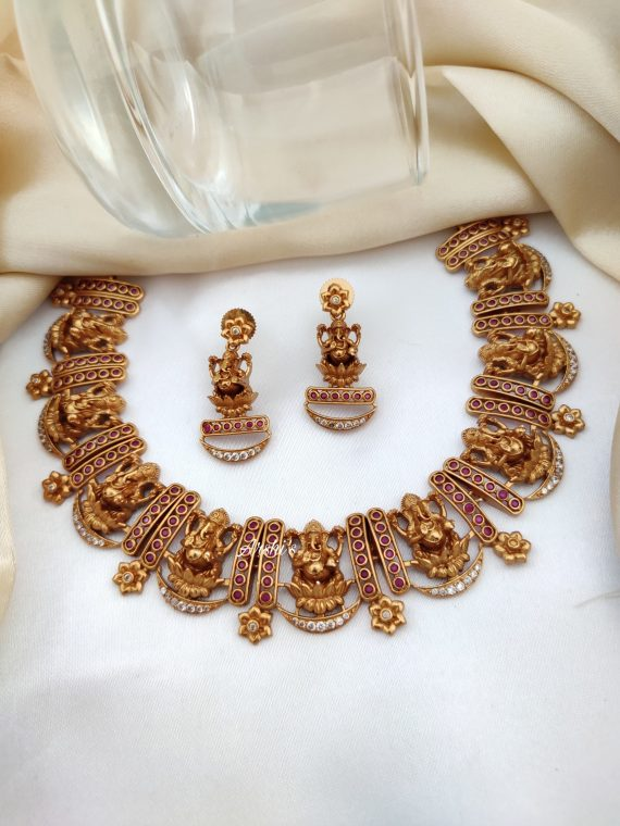 Imitation Red Ruby and White Stone Ganesh Necklace-01
