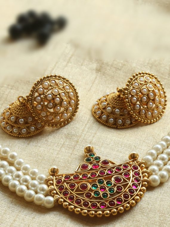 Kemp Half-Moon White Pearl Chocker with Jhumkas-01