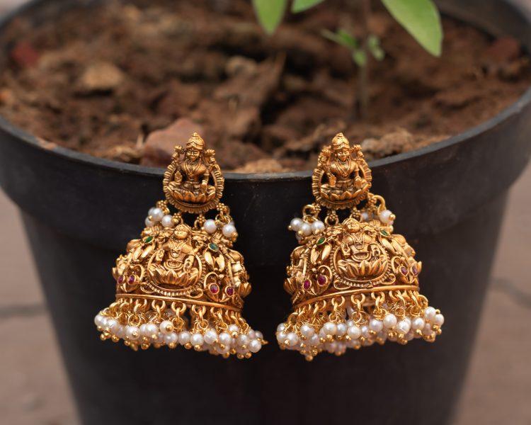 Lakshmi Jhumka with pearls-01