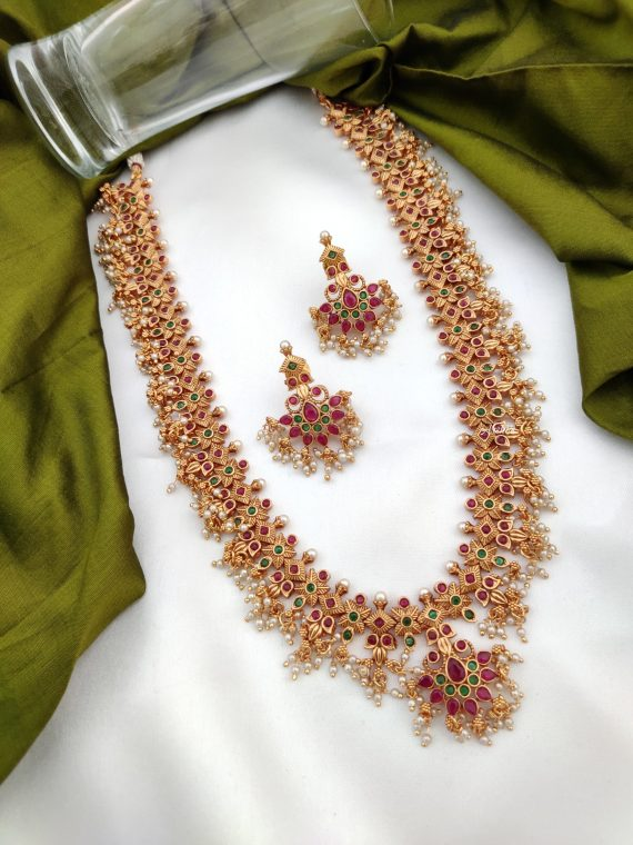 Long Guttapusalu Necklace With Matching Earrings-01