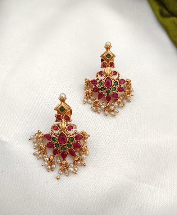 Long Guttapusalu Necklace With Matching Earrings-02