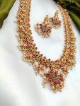 Long Guttapusalu Necklace With Matching Earrings-03