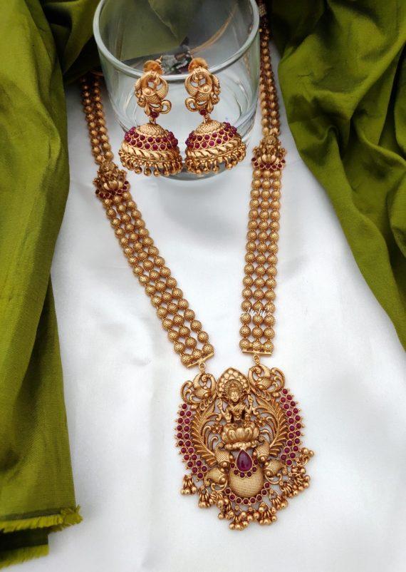 Matt Finish Bridal Lakshmi Haram Set-01
