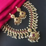 One Gram Gold Pearl Trims Necklace Set-02