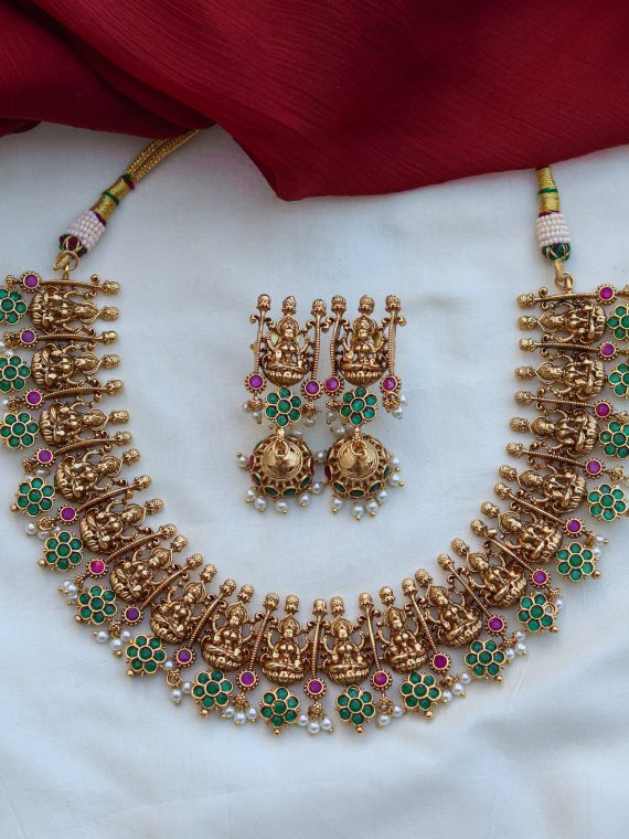 One Gram Gold Temple Necklace Set-01