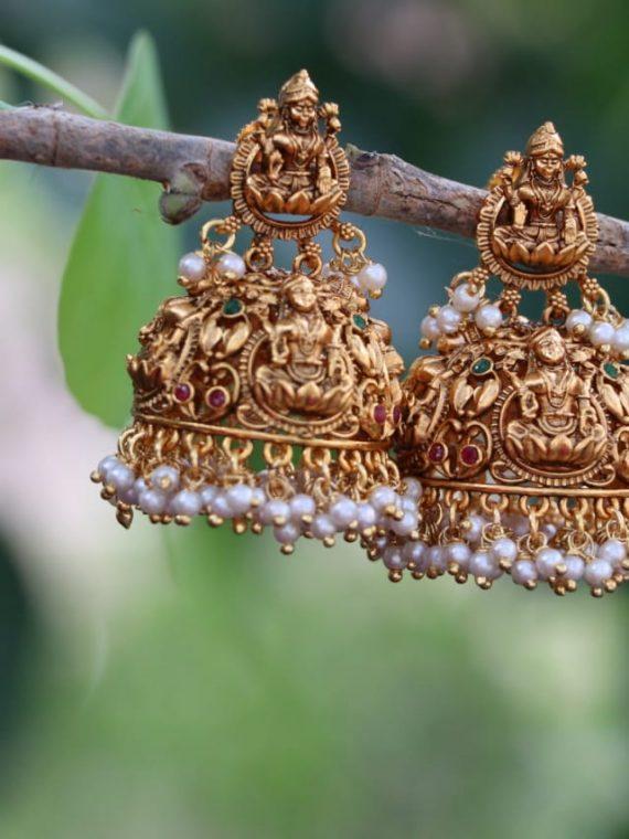 Pearl Cluster Lakshmi Jhumkas-01