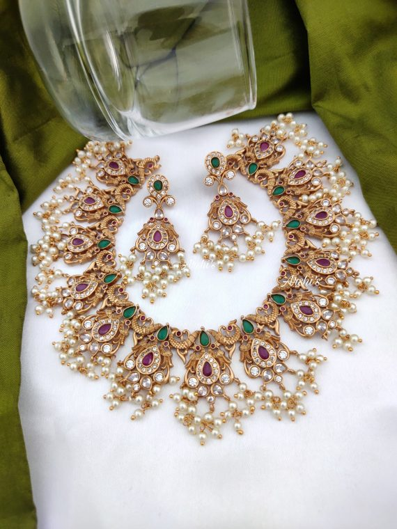 Semi Precious Peacock Guttapusalu Necklace-01