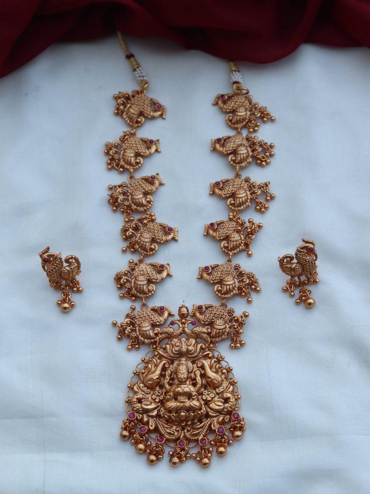 Temple Peacock Necklace Set-01
