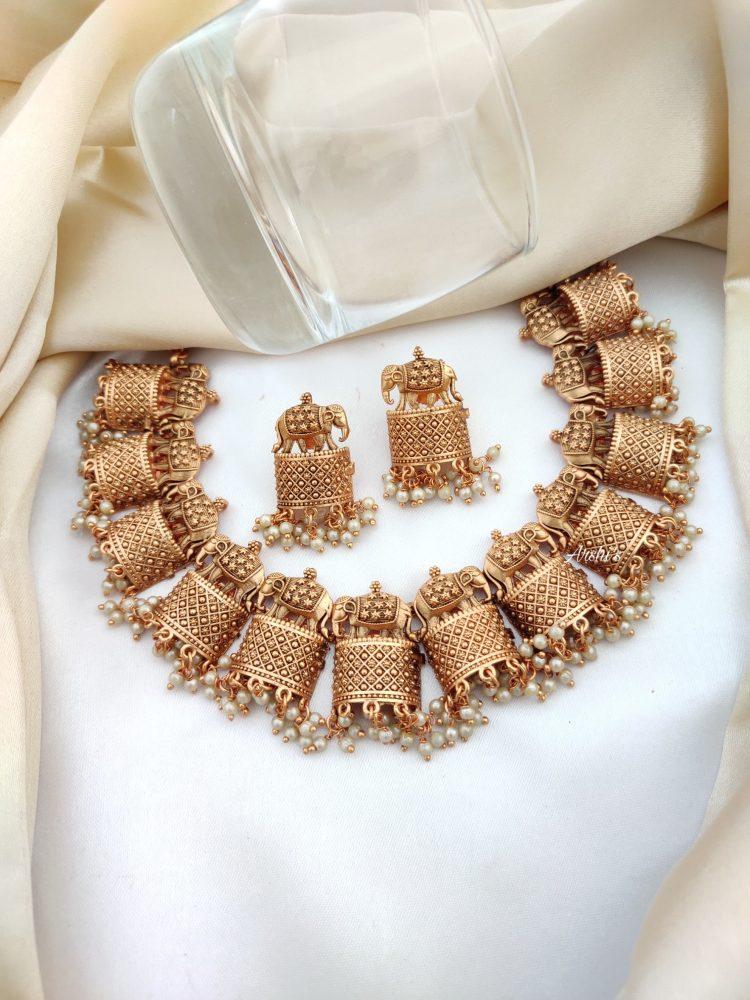 Trendy Elephant Necklace Set-03