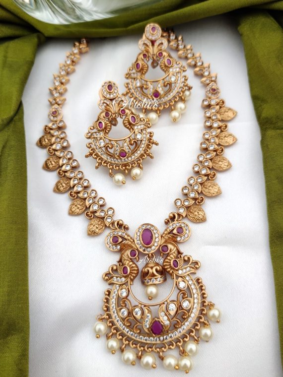 AD Matte Chandbali Pendantn with Lakshmi Coin Necklace-01