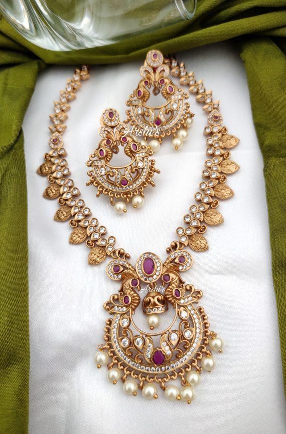 AD Matte Chandbali Pendantn with Lakshmi Coin Necklace-01