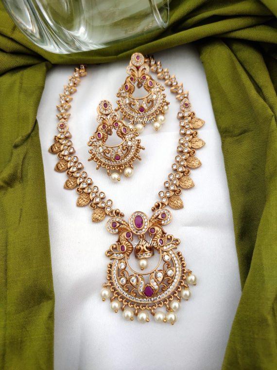 AD Matte Chandbali Pendantn with Lakshmi Coin Necklace-02
