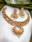 AD Matte Finish Chandbali Pendant Necklace-02
