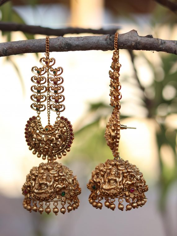 Big Bridal Antique Jhumkas With Ear Chains-01