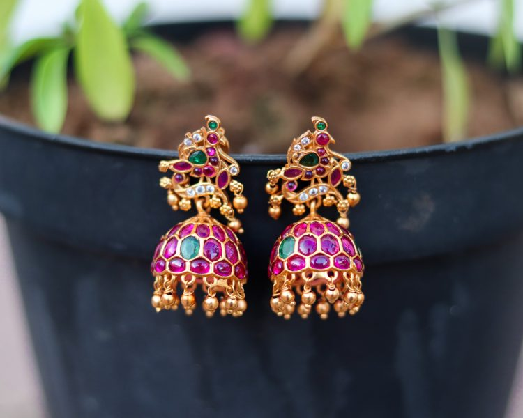 Imitation Ruby Emerald Jhumka-01