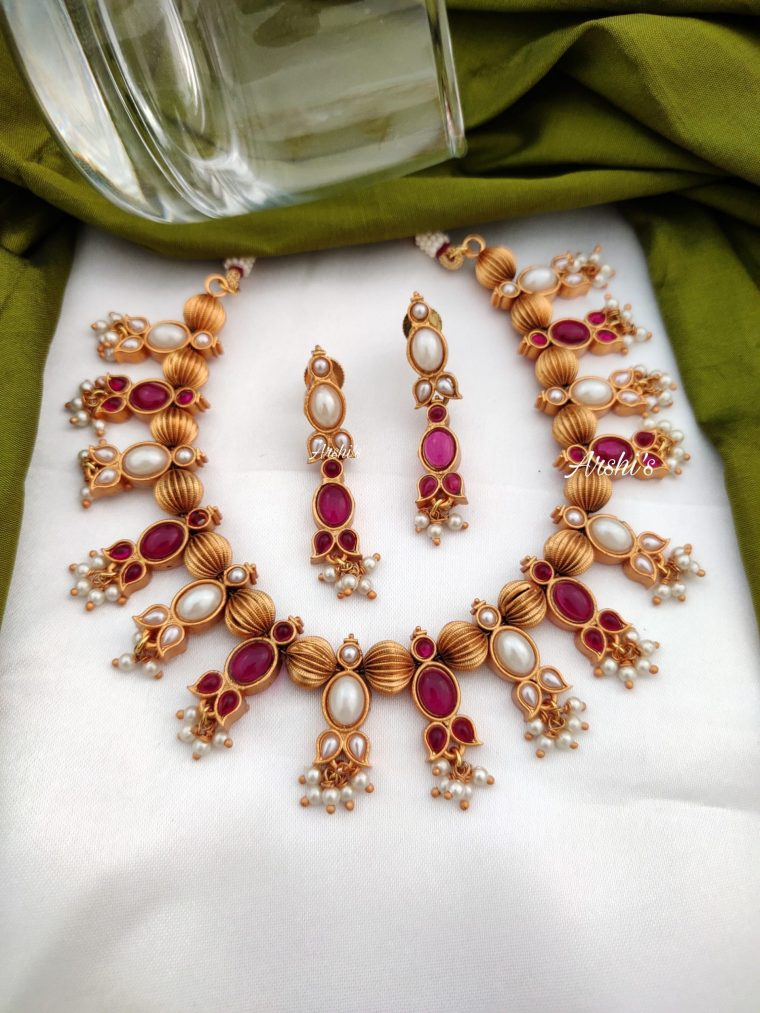 Real kemp and pearl gold bead necklace-01