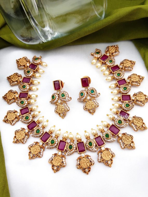 Ruby and Green Stone Ram Parivari Necklace-01