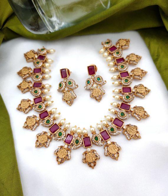 Ruby and Green Stone Ram Parivari Necklace-02