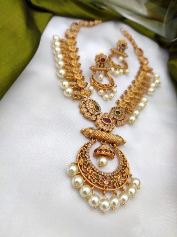 Simple Pearl Lakshmi Chandbali Necklace-02