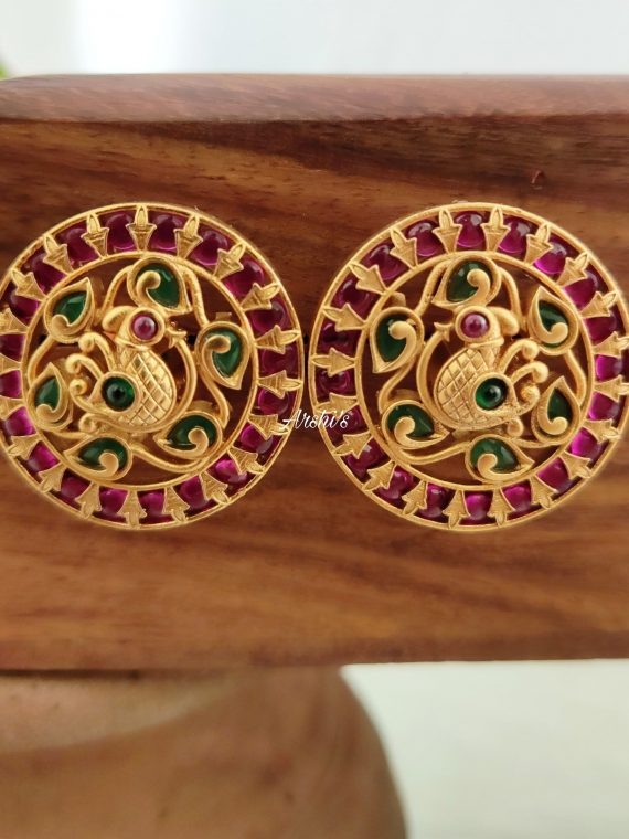 South Indian Red and Green Kemp Peacock Ear Studs-01