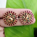 South Indian Red and Green Kemp Peacock Ear Studs-02