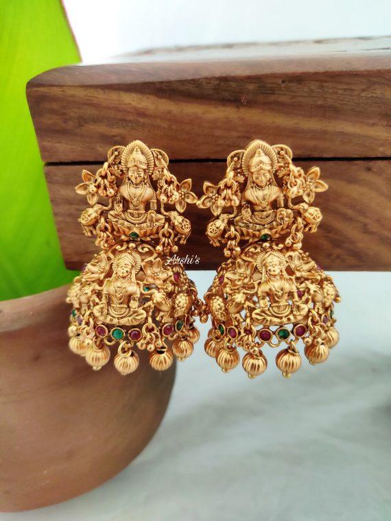Temple Lakshmi Gold Bead Jhumkas-01