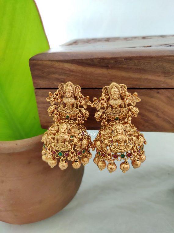 Temple Lakshmi Gold Bead Jhumkas-02