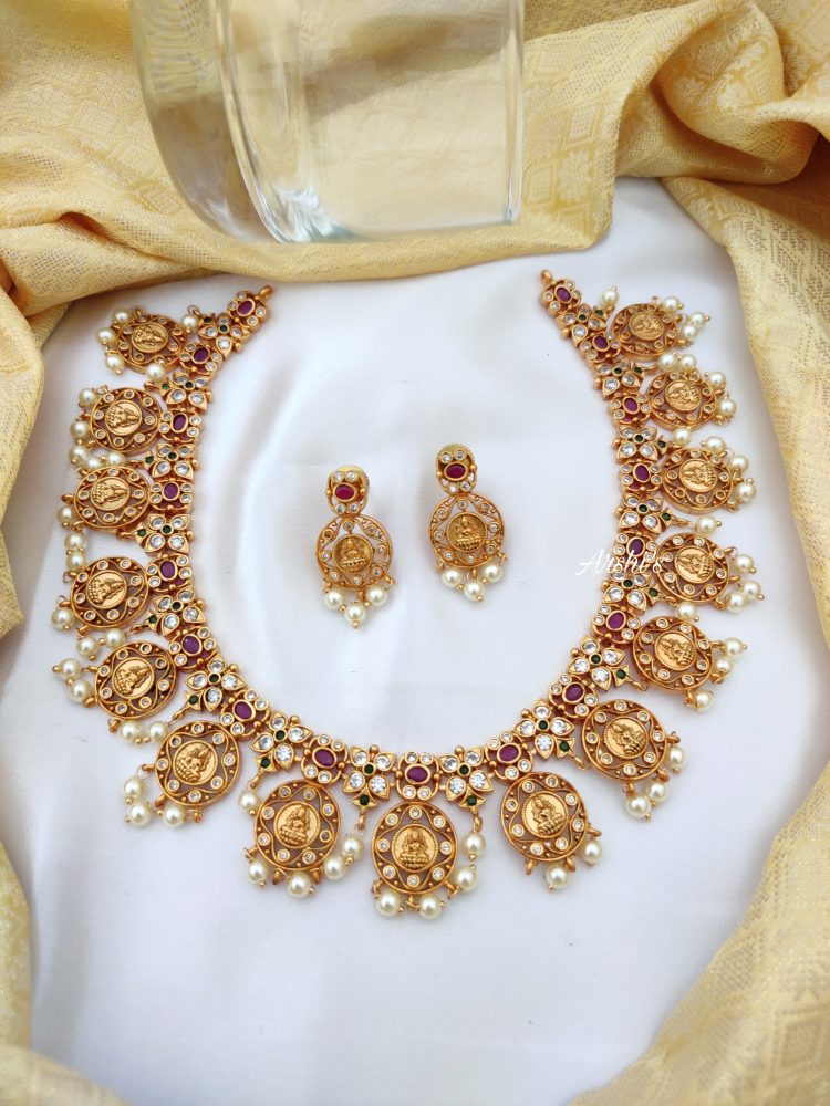 AD Stones & Pearls Lakshmi Coin Necklace-01