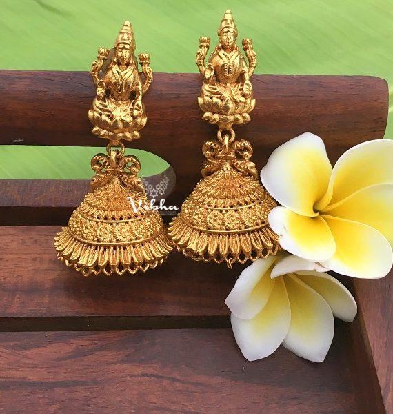 Alluring Antique Finish Lakshmi Jhumkas-01