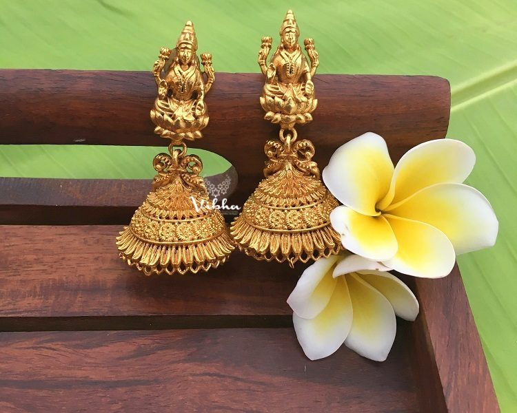 Alluring Antique Finish Lakshmi Jhumkas-01
