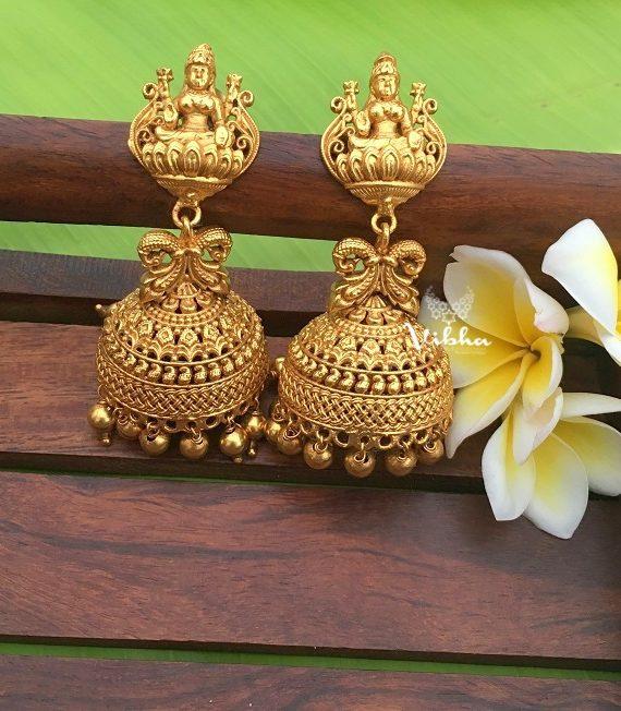 Alluring One Gram Gold Lakshmi Jhumkas-01