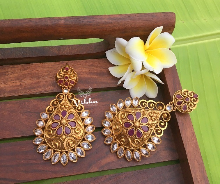 Antique Finish AD Stone Chandbali Earrings-01