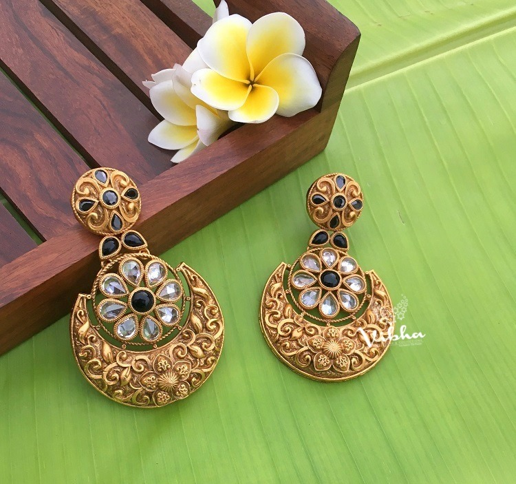 Antique Finish White and Blue Stone Chandbali Earrings-01
