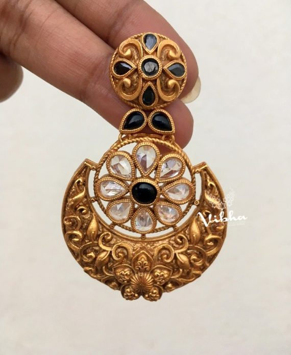 Antique Finish White and Blue Stone Chandbali Earrings-02